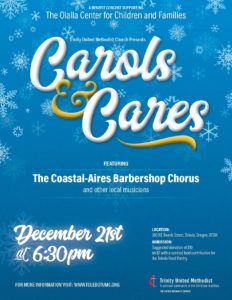 Poster for the Carols and Cares benefit concert supporting the Olalla Center for Children and Families designed by André Casey