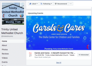 Facebook Event image for the Carols and Cares benefit concert for the Olalla Center for Children and Families designed by André Casey.